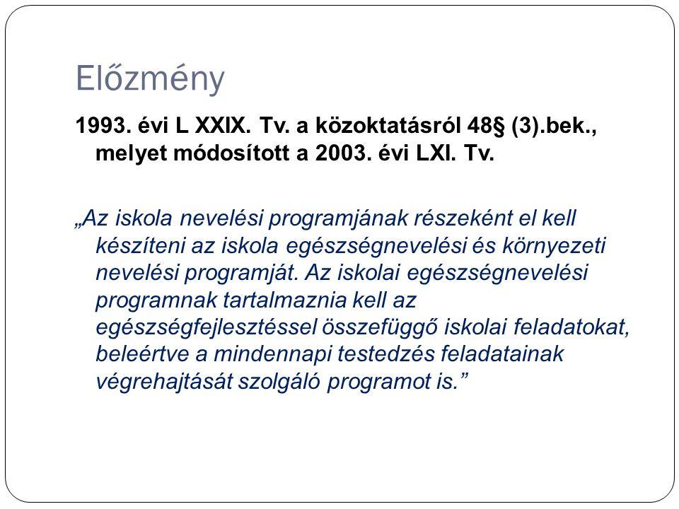 Előzmény 1993.évi L XXIX. Tv. a közoktatásról 48§ (3).bek., melyet módosított a 2003.