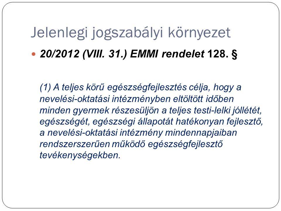 Jelenlegi jogszabályi környezet 20/2012 (VIII. 31.) EMMI rendelet 128.