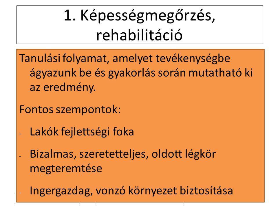 2011.4. 4. 2. Képesség-rehabilitáció területei I.