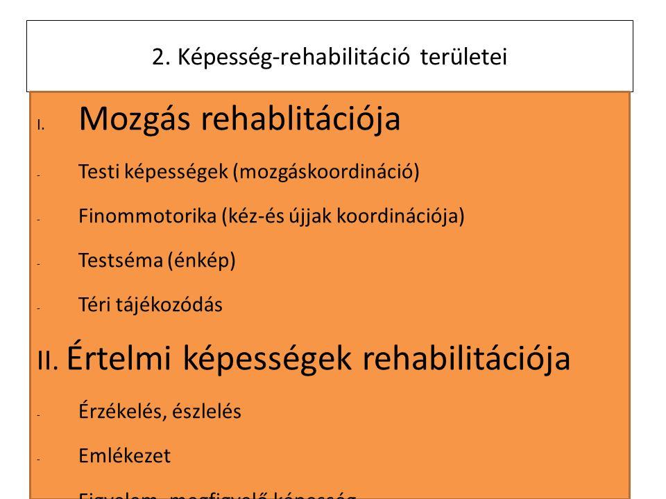 2011. 4. 4. 2. Képesség-rehabilitáció területei I.