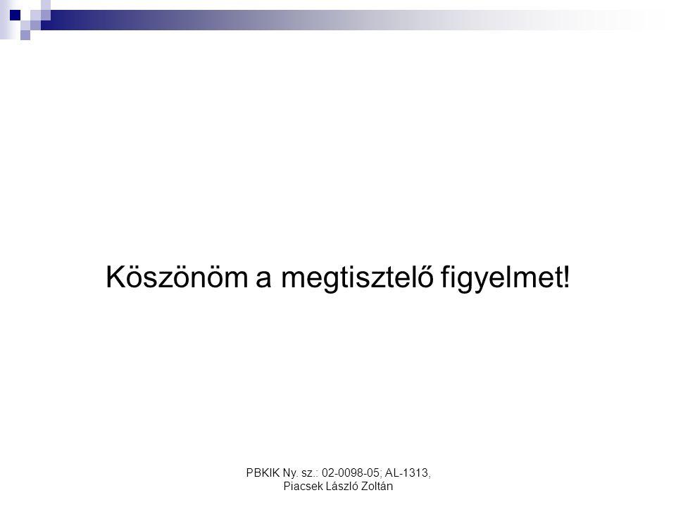 PBKIK Ny. sz.: 02-0098-05; AL-1313, Piacsek László Zoltán Köszönöm a megtisztelő figyelmet!