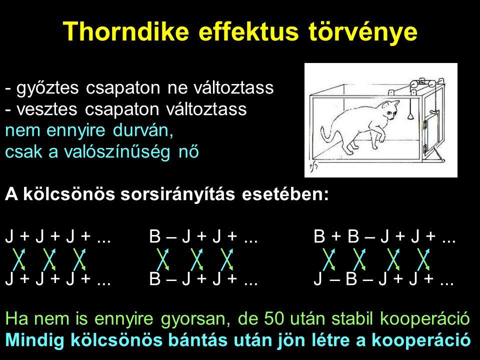 Thorndike effektus törvénye - győztes csapaton ne változtass - vesztes csapaton változtass nem ennyire durván, csak a valószínűség nő A kölcsönös sors