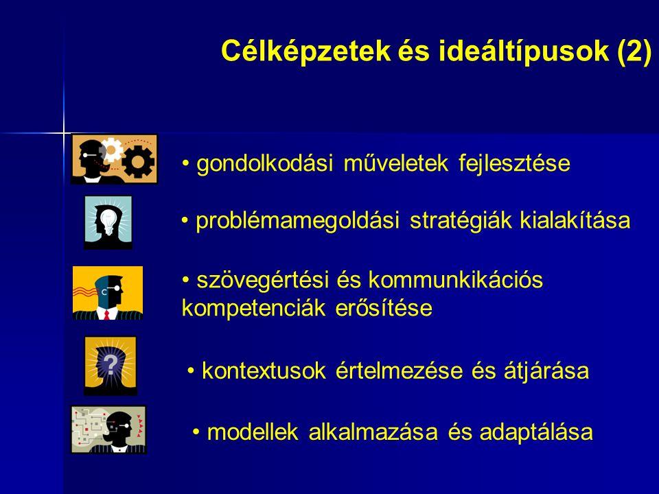 gondolkodási műveletek fejlesztése problémamegoldási stratégiák kialakítása szövegértési és kommunkikációs kompetenciák erősítése kontextusok értelmezése és átjárása modellek alkalmazása és adaptálása Célképzetek és ideáltípusok (2)