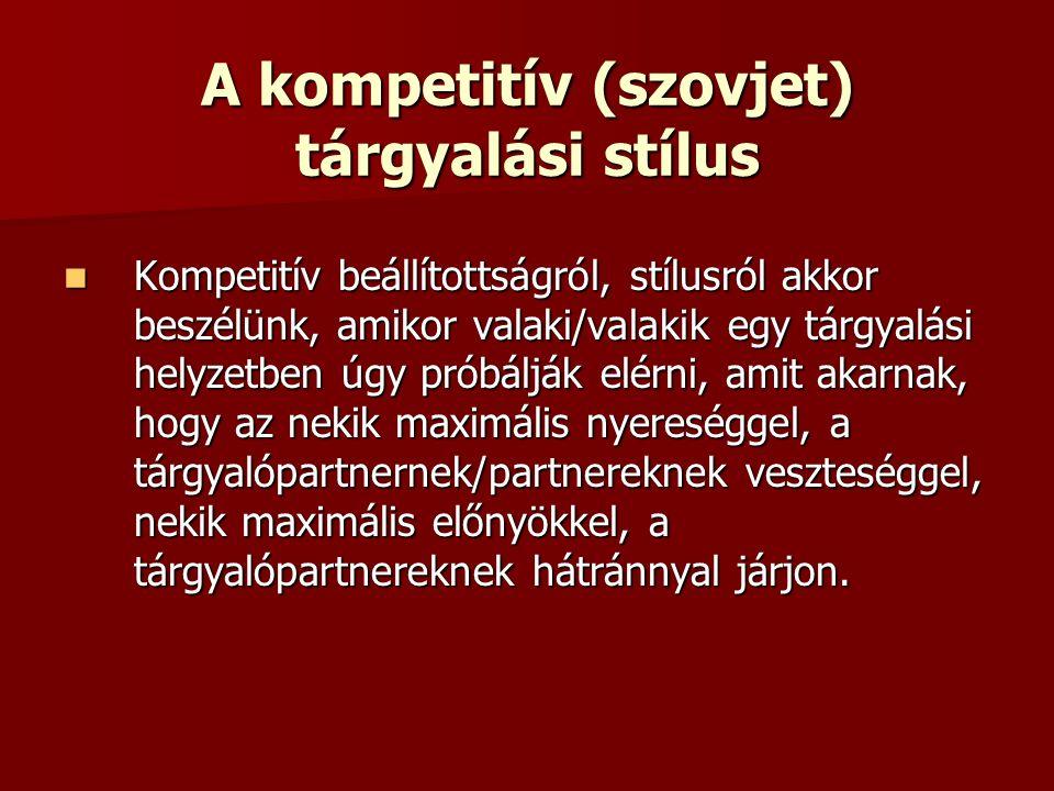 A kompetitív (szovjet) tárgyalási stílus Kompetitív beállítottságról, stílusról akkor beszélünk, amikor valaki/valakik egy tárgyalási helyzetben úgy próbálják elérni, amit akarnak, hogy az nekik maximális nyereséggel, a tárgyalópartnernek/partnereknek veszteséggel, nekik maximális előnyökkel, a tárgyalópartnereknek hátránnyal járjon.