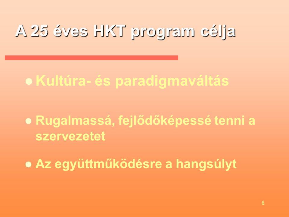 8 A 25 éves HKT program célja Rugalmassá, fejlődőképessé tenni a szervezetet Az együttműködésre a hangsúlyt Kultúra- és paradigmaváltás