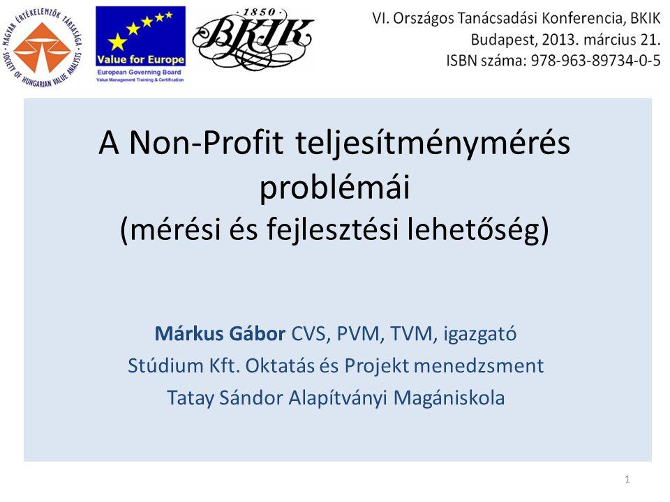 A Non-Profit teljesítménymérés problémái (mérési és fejlesztési lehetőség) Márkus Gábor CVS, PVM, TVM, igazgató Stúdium Kft.