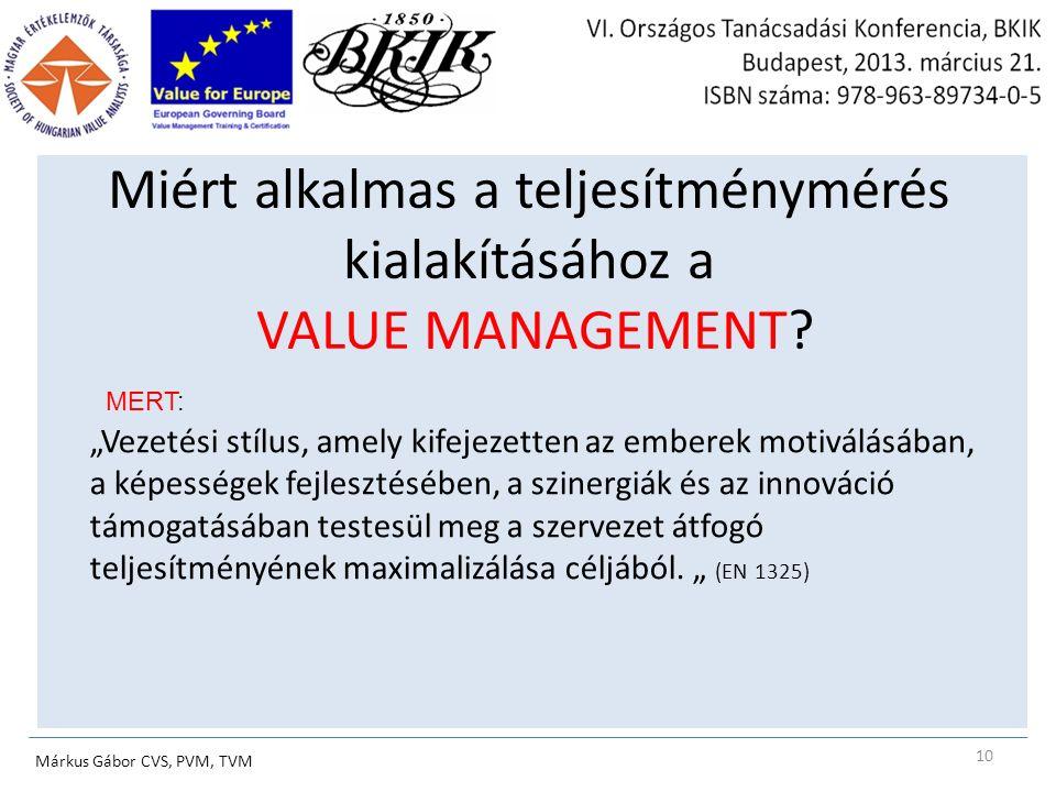 Miért alkalmas a teljesítménymérés kialakításához a VALUE MANAGEMENT.