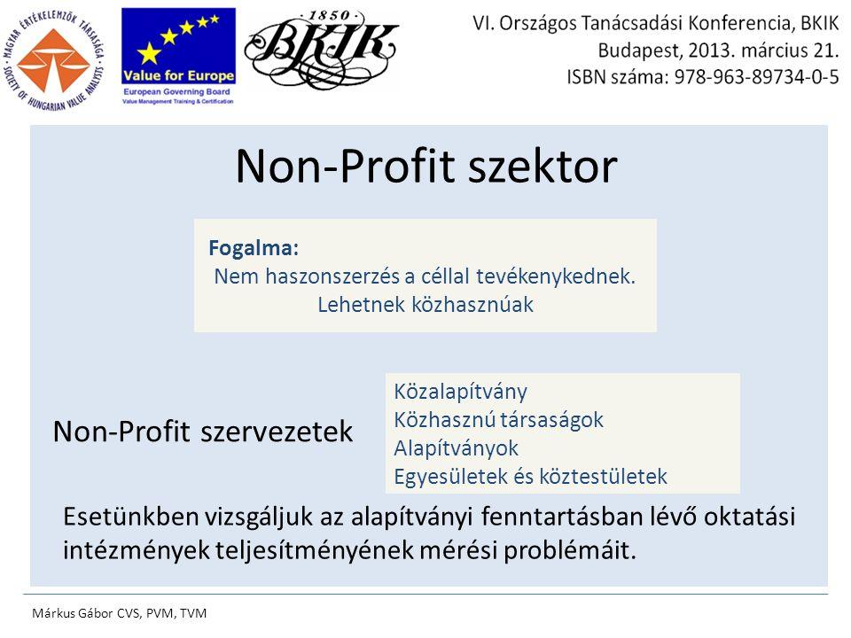 Non-Profit szervezetek Fogalma: Nem haszonszerzés a céllal tevékenykednek.