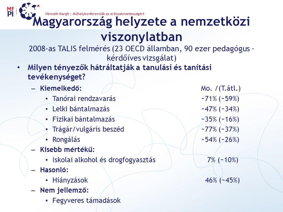 Magyarország helyzete a nemzetközi viszonylatban 2008-as TALIS felmérés (23 OECD államban, 90 ezer pedagógus - kérdőíves vizsgálat) Milyen tényezők há