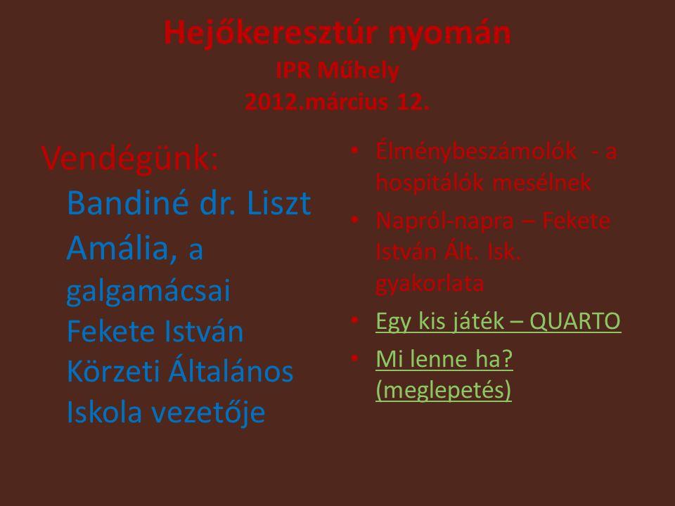 Hejőkeresztúr nyomán IPR Műhely 2012.március 12. Vendégünk: Bandiné dr.