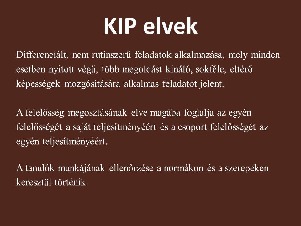 KIP elvek Differenciált, nem rutinszerű feladatok alkalmazása, mely minden esetben nyitott végű, több megoldást kínáló, sokféle, eltérő képességek mozgósítására alkalmas feladatot jelent.