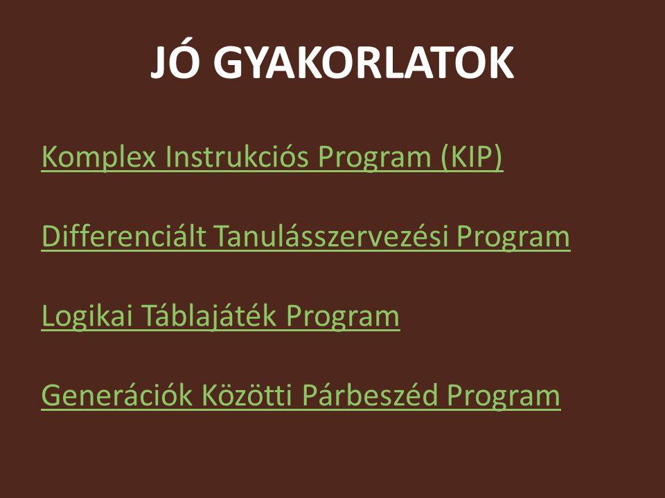 JÓ GYAKORLATOK Komplex Instrukciós Program (KIP) Differenciált Tanulásszervezési Program Logikai Táblajáték Program Generációk Közötti Párbeszéd Program