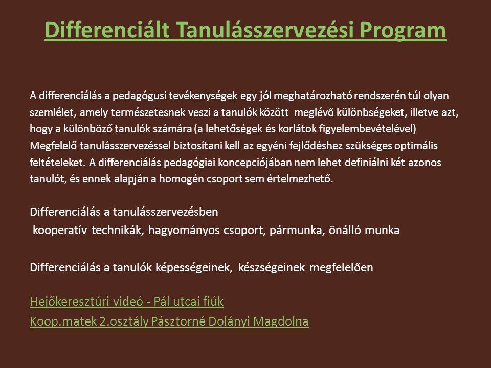 Differenciált Tanulásszervezési Program A differenciálás a pedagógusi tevékenységek egy jól meghatározható rendszerén túl olyan szemlélet, amely természetesnek veszi a tanulók között meglévő különbségeket, illetve azt, hogy a különböző tanulók számára (a lehetőségek és korlátok figyelembevételével) Megfelelő tanulásszervezéssel biztosítani kell az egyéni fejlődéshez szükséges optimális feltételeket.
