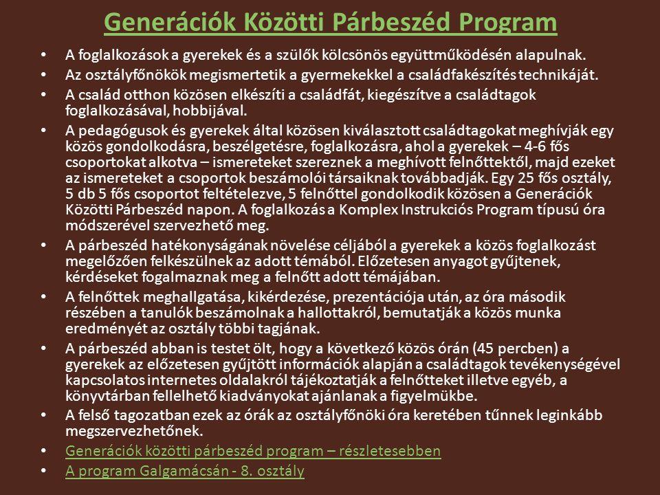Generációk Közötti Párbeszéd Program A foglalkozások a gyerekek és a szülők kölcsönös együttműködésén alapulnak.