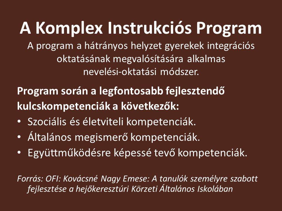 A Komplex Instrukciós Program A program a hátrányos helyzet gyerekek integrációs oktatásának megvalósítására alkalmas nevelési-oktatási módszer.