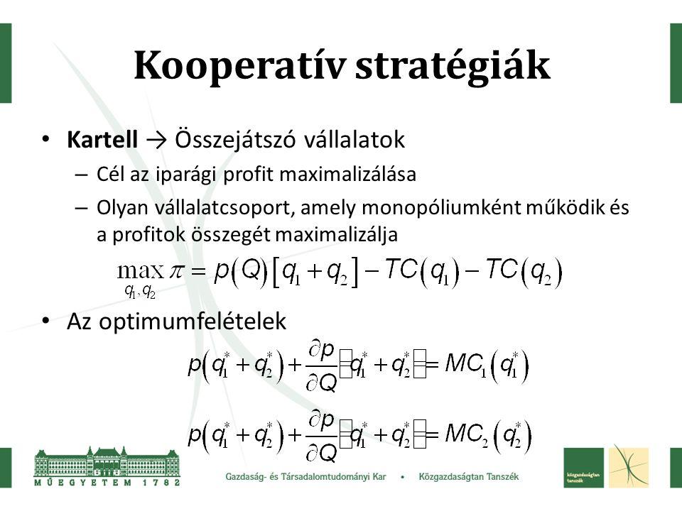 Kooperatív stratégiák Kartell → Összejátszó vállalatok – Cél az iparági profit maximalizálása – Olyan vállalatcsoport, amely monopóliumként működik és a profitok összegét maximalizálja Az optimumfelételek