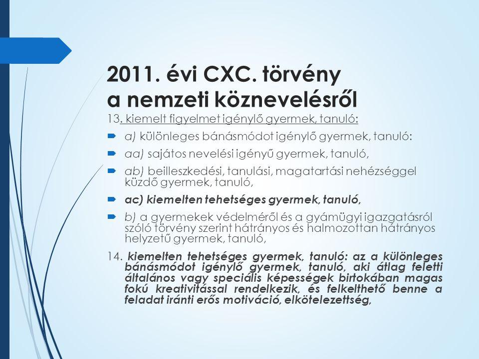 2011. évi CXC. törvény a nemzeti köznevelésről 13.