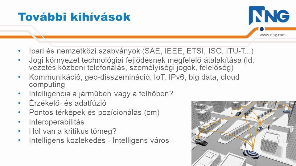 További kihívások Ipari és nemzetközi szabványok (SAE, IEEE, ETSI, ISO, ITU-T...) Jogi környezet technológiai fejlődésnek megfelelő átalakítása (ld. v