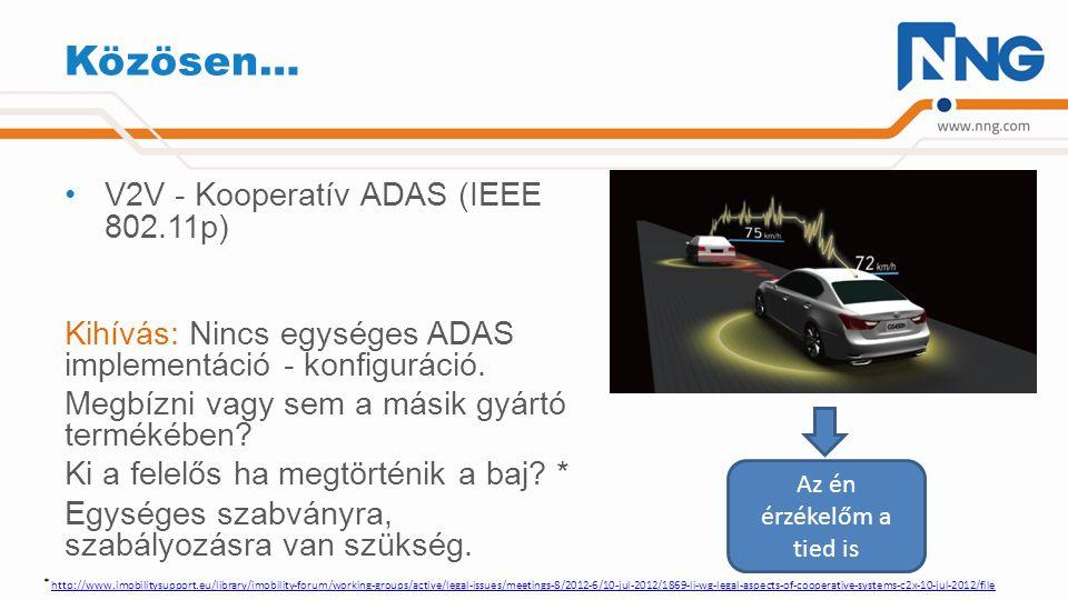 Okosabban… V2I – I2V – Interakció a forgalomirányítási infrastruktúrával –Signal phase and timing (Spat) (SAE J2735 & ISO/AWI TS 19091) –Jármű szenzor adatok (ISO TS 29284, stb) –Forgalom és utazási információk (TMC & TPEG) (ISO 14819 és ISO TS 21219) Kihívás: Kié a járműből származó adat.