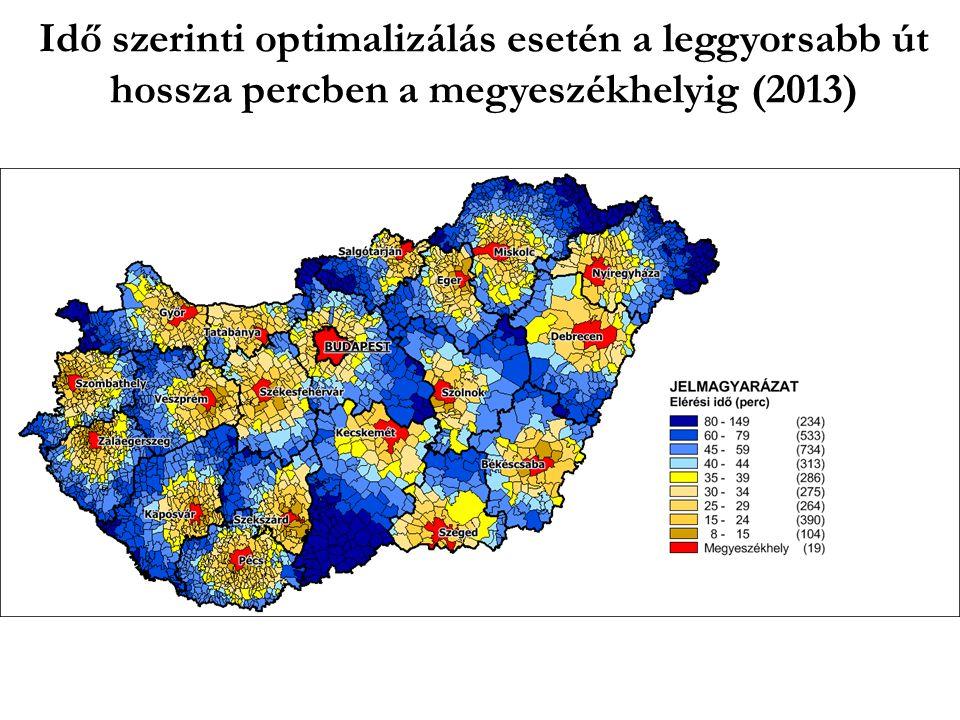 Idő szerinti optimalizálás esetén a leggyorsabb út hossza percben a megyeszékhelyig (2013)