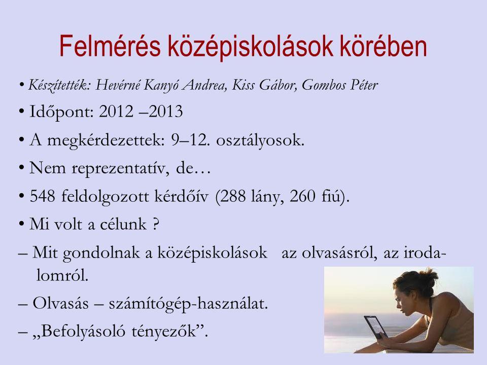 Felmérés középiskolások körében Készítették: Hevérné Kanyó Andrea, Kiss Gábor, Gombos Péter Időpont: 2012 –2013 A megkérdezettek: 9–12.