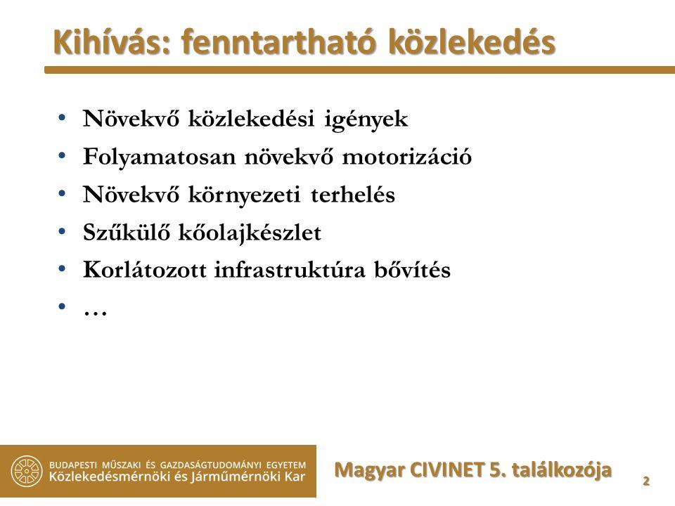 2 Kihívás: fenntartható közlekedés Növekvő közlekedési igények Folyamatosan növekvő motorizáció Növekvő környezeti terhelés Szűkülő kőolajkészlet Korlátozott infrastruktúra bővítés … Magyar CIVINET 5.