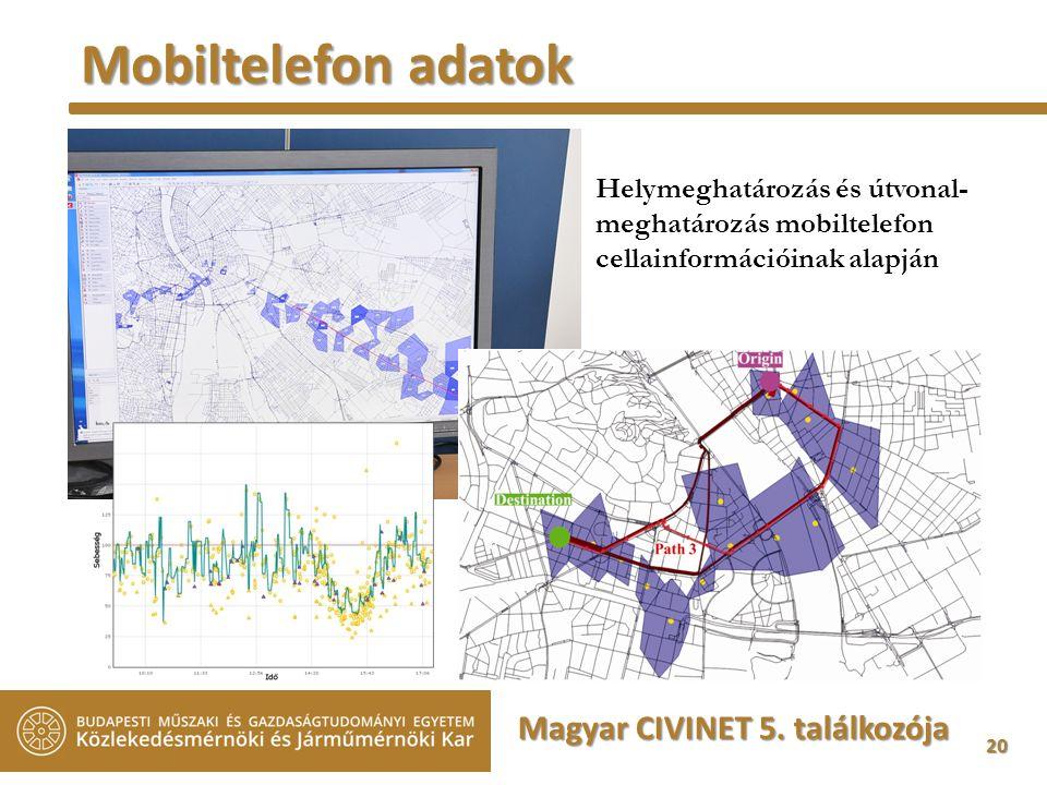 20 Mobiltelefon adatok Helymeghatározás és útvonal- meghatározás mobiltelefon cellainformációinak alapján Magyar CIVINET 5.