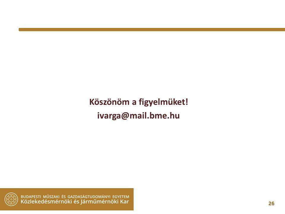26 Köszönöm a figyelmüket! ivarga@mail.bme.hu