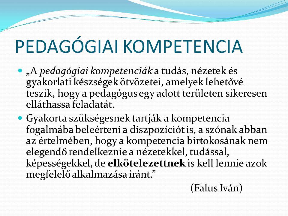 """PEDAGÓGIAI KOMPETENCIA """"A pedagógiai kompetenciák a tudás, nézetek és gyakorlati készségek ötvözetei, amelyek lehetővé teszik, hogy a pedagógus egy adott területen sikeresen elláthassa feladatát."""