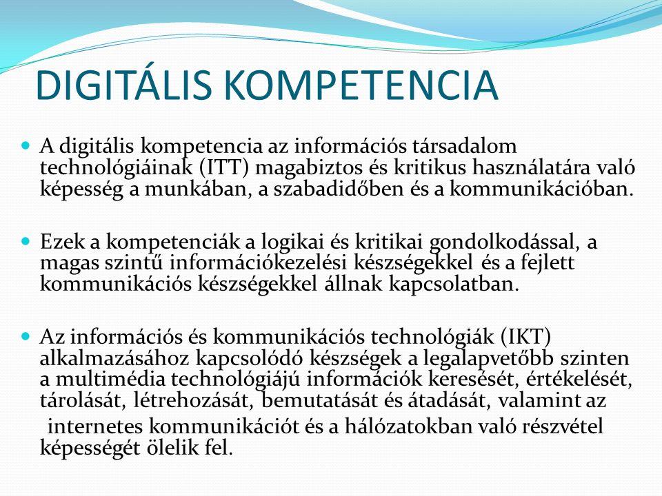 DIGITÁLIS KOMPETENCIA A digitális kompetencia az információs társadalom technológiáinak (ITT) magabiztos és kritikus használatára való képesség a munkában, a szabadidőben és a kommunikációban.