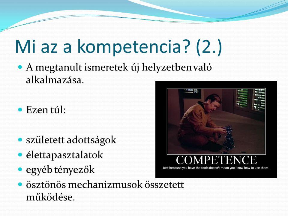 Mi az a kompetencia. (2.) A megtanult ismeretek új helyzetben való alkalmazása.