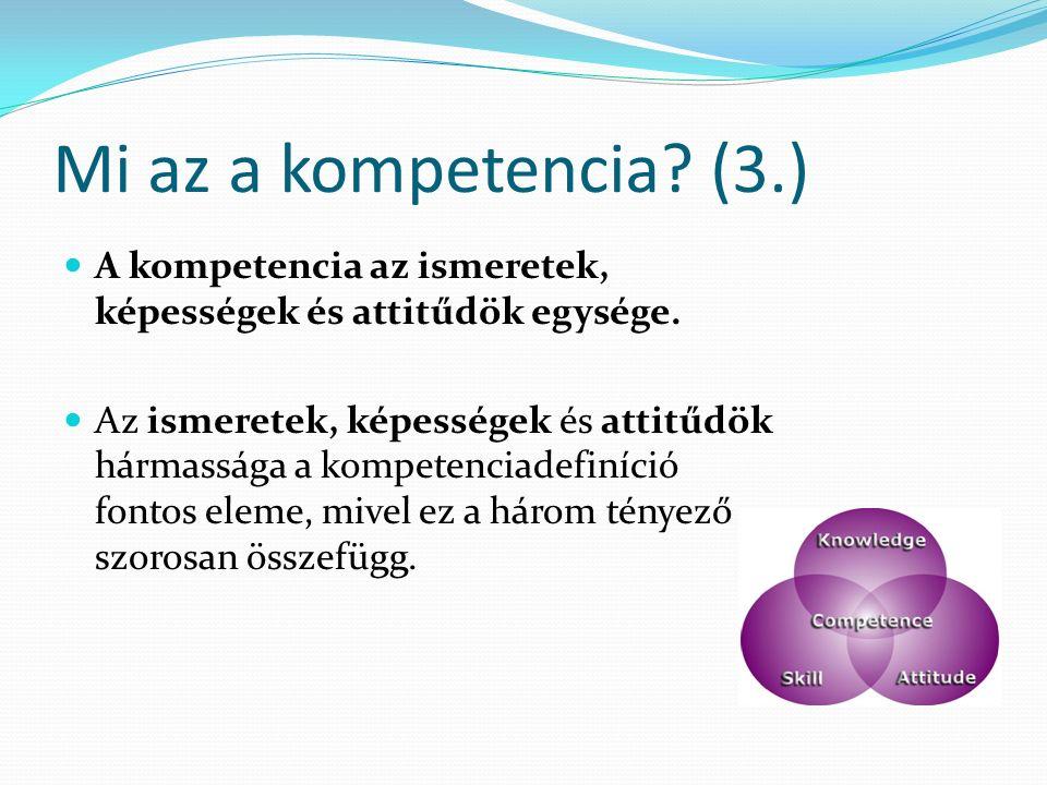 Mi az a kompetencia. (3.) A kompetencia az ismeretek, képességek és attitűdök egysége.