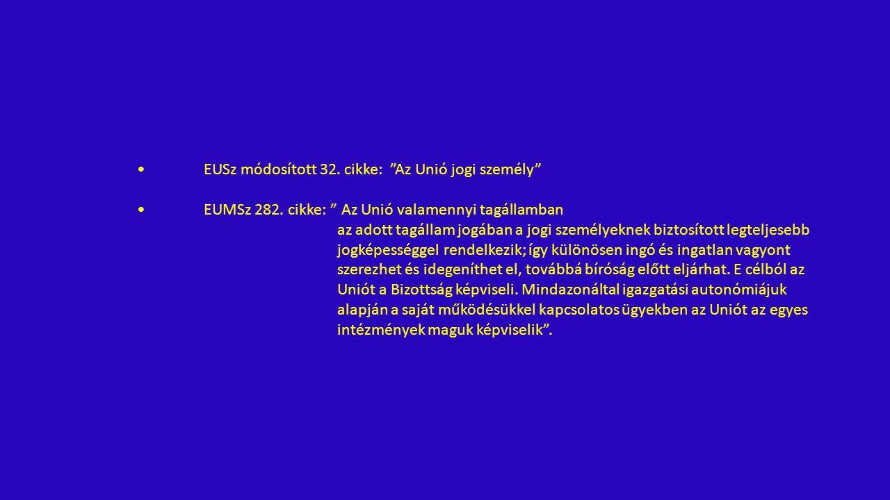 EUSz módosított 32. cikke: Az Unió jogi személy EUMSz 282.