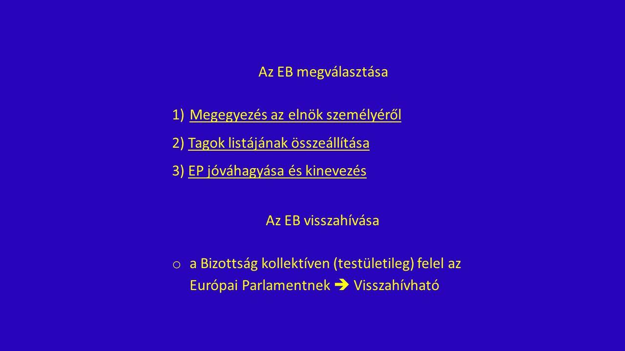 Az EB megválasztása 1)Megegyezés az elnök személyéről 2) Tagok listájának összeállítása 3) EP jóváhagyása és kinevezés Az EB visszahívása o a Bizottság kollektíven (testületileg) felel az Európai Parlamentnek  Visszahívható