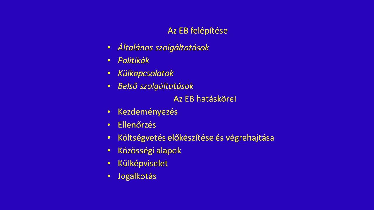 Az EB felépítése Általános szolgáltatások Politikák Külkapcsolatok Belső szolgáltatások Az EB hatáskörei Kezdeményezés Ellenőrzés Költségvetés előkészítése és végrehajtása Közösségi alapok Külképviselet Jogalkotás