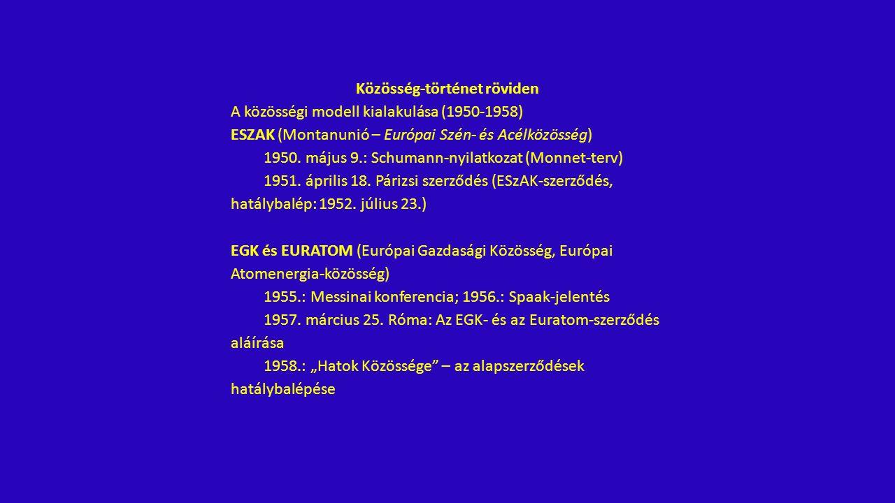 Az integráció mélyülési folyamata (1958-2009) 1961: Fouchet-terv 1969: hágai csúcstalálkozó 1974: párizsi csúcstalálkozó 1976: Tindemans-jelentés 1978-1979: EMS/ECU hatálybalépése 1979: közvetlen EP-választás 1983: Stuttgarti nyilatkozat 1986: Egységes Európai Okmány (Single European Act – SEA) 1990.
