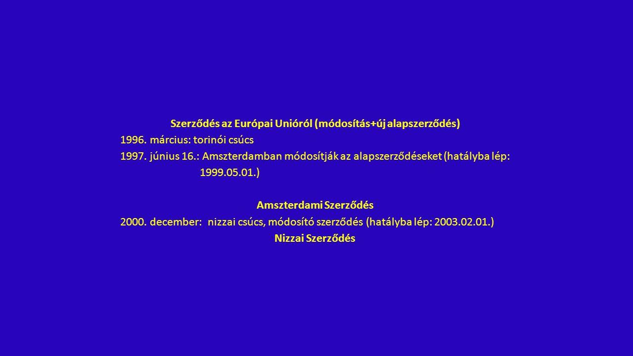 Szerződés az Európai Unióról (módosítás+új alapszerződés) 1996.