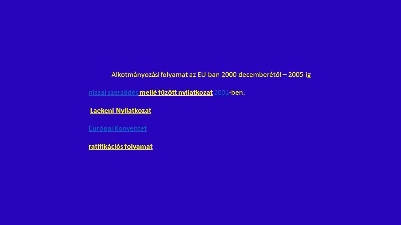 Alkotmányozási folyamat az EU-ban 2000 decemberétől – 2005-ig nizzai szerződésnizzai szerződés mellé fűzött nyilatkozat 2001-ben.2001 Laekeni Nyilatkozat Európai Konventet ratifikációs folyamat