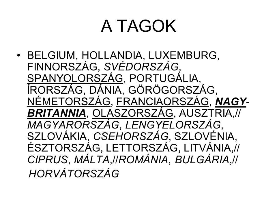 A TAGOK BELGIUM, HOLLANDIA, LUXEMBURG, FINNORSZÁG, SVÉDORSZÁG, SPANYOLORSZÁG, PORTUGÁLIA, ÍRORSZÁG, DÁNIA, GÖRÖGORSZÁG, NÉMETORSZÁG, FRANCIAORSZÁG, NA
