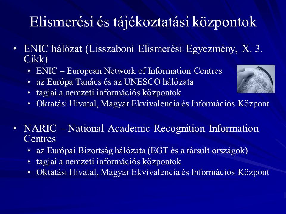 Elismerési és tájékoztatási központok ENIC hálózat (Lisszaboni Elismerési Egyezmény, X.