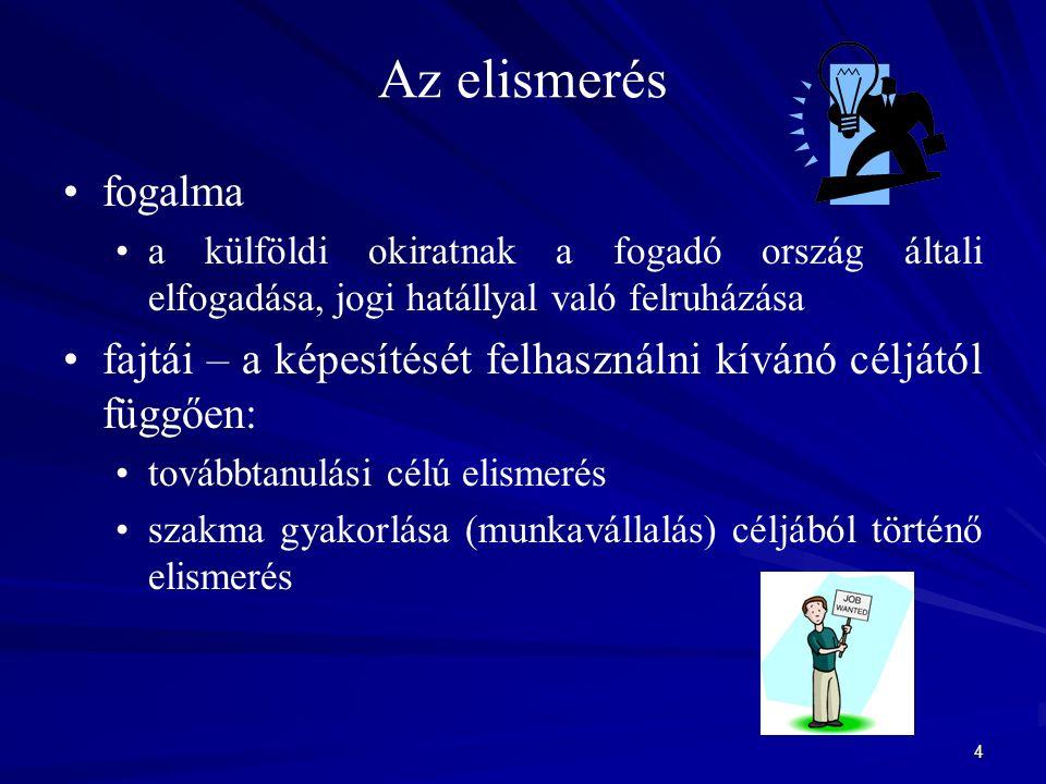 5 Az elismerés jogszabályi alapja Magyarországon és az EU-ban (+ Izland, Liechtenstein, Norvégia, Svájc) nemzeti jog nemzetközi egyezmények ún.