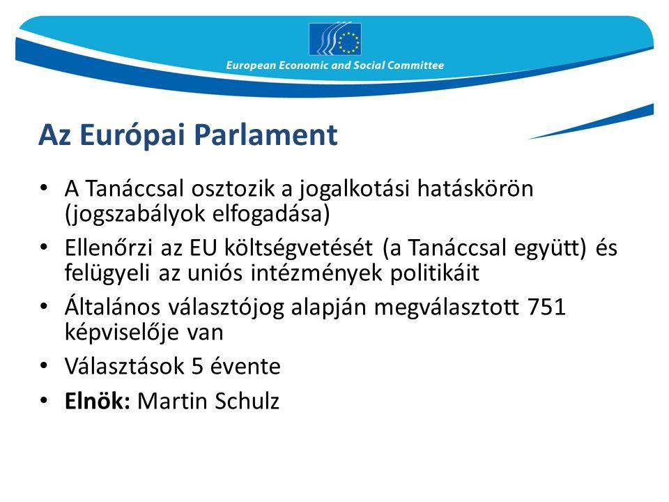 Az Európai Parlament A Tanáccsal osztozik a jogalkotási hatáskörön (jogszabályok elfogadása) Ellenőrzi az EU költségvetését (a Tanáccsal együtt) és felügyeli az uniós intézmények politikáit Általános választójog alapján megválasztott 751 képviselője van Választások 5 évente Elnök: Martin Schulz