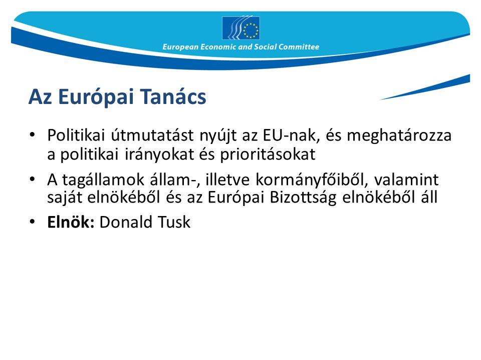 Az Európai Tanács Politikai útmutatást nyújt az EU-nak, és meghatározza a politikai irányokat és prioritásokat A tagállamok állam-, illetve kormányfőiből, valamint saját elnökéből és az Európai Bizottság elnökéből áll Elnök: Donald Tusk