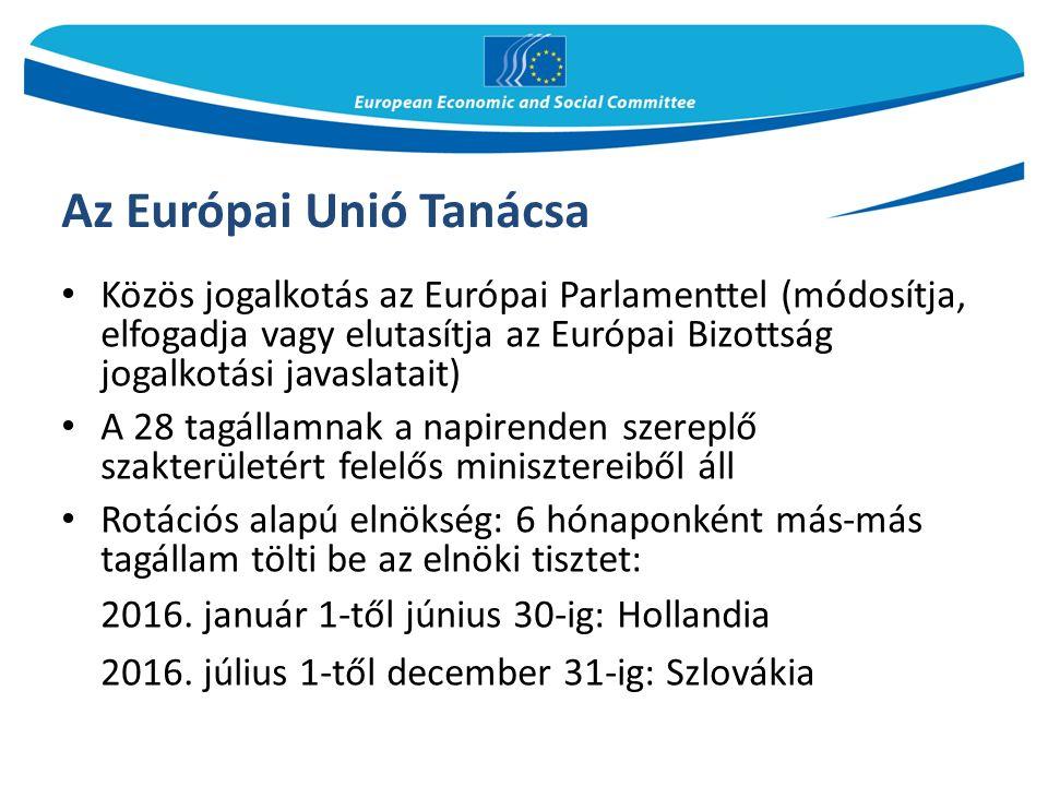 Az Európai Unió Tanácsa Közös jogalkotás az Európai Parlamenttel (módosítja, elfogadja vagy elutasítja az Európai Bizottság jogalkotási javaslatait) A 28 tagállamnak a napirenden szereplő szakterületért felelős minisztereiből áll Rotációs alapú elnökség: 6 hónaponként más-más tagállam tölti be az elnöki tisztet: 2016.