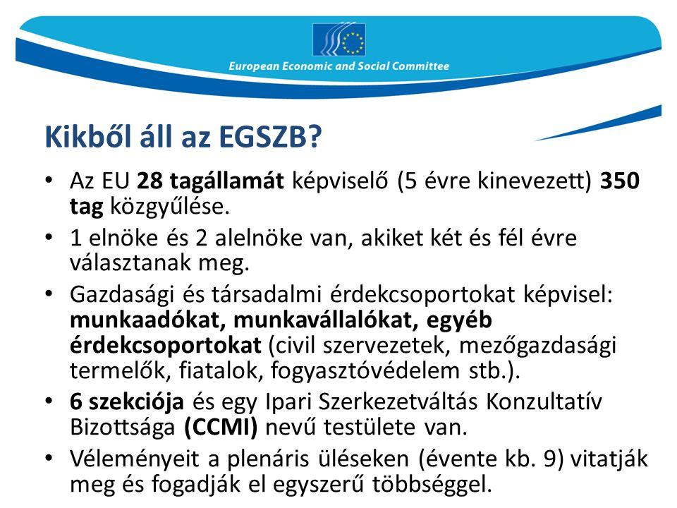 Kikből áll az EGSZB. Az EU 28 tagállamát képviselő (5 évre kinevezett) 350 tag közgyűlése.