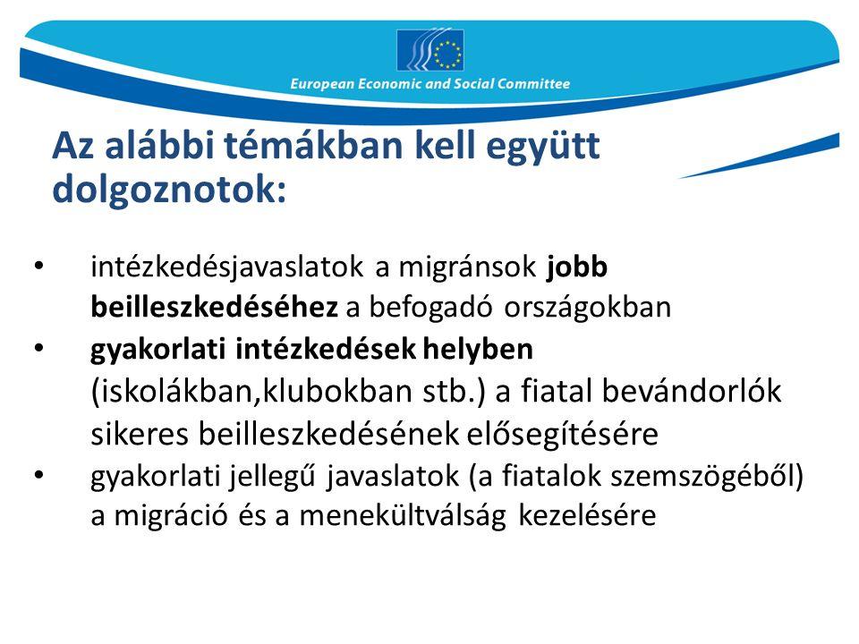 intézkedésjavaslatok a migránsok jobb beilleszkedéséhez a befogadó országokban gyakorlati intézkedések helyben (iskolákban,klubokban stb.) a fiatal bevándorlók sikeres beilleszkedésének elősegítésére gyakorlati jellegű javaslatok (a fiatalok szemszögéből) a migráció és a menekültválság kezelésére Az alábbi témákban kell együtt dolgoznotok: