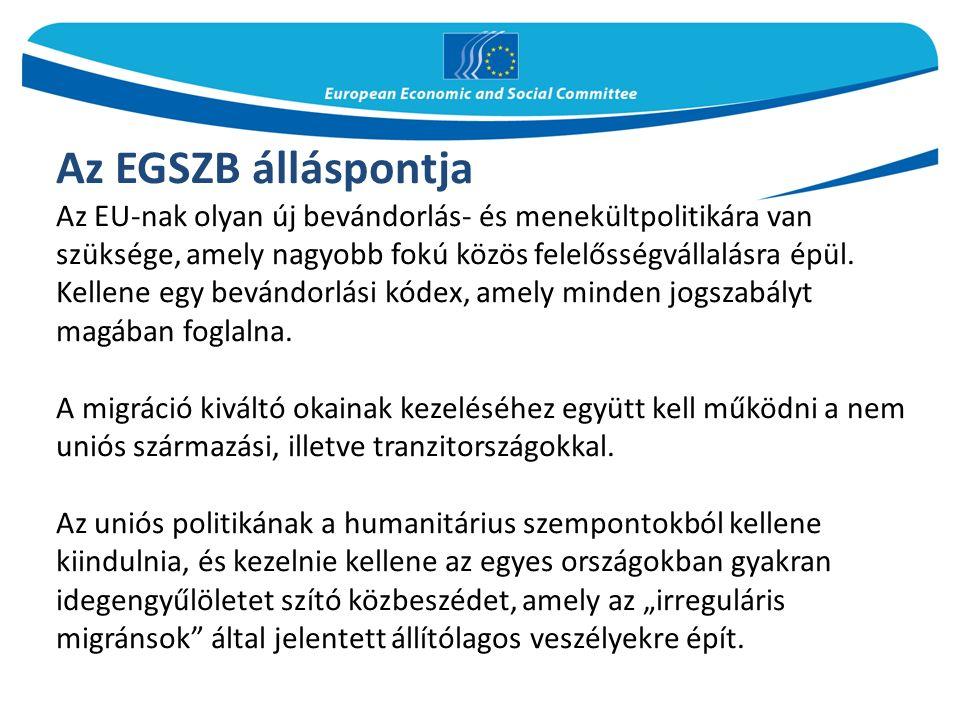 Az EGSZB álláspontja Az EU-nak olyan új bevándorlás- és menekültpolitikára van szüksége, amely nagyobb fokú közös felelősségvállalásra épül.