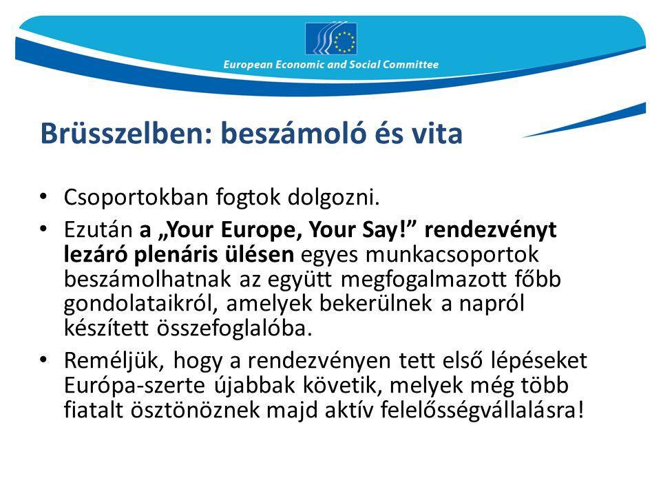Brüsszelben: beszámoló és vita Csoportokban fogtok dolgozni.