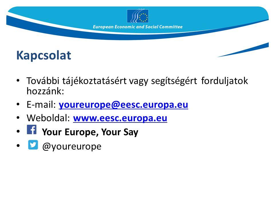 Kapcsolat További tájékoztatásért vagy segítségért forduljatok hozzánk: E-mail: youreurope@eesc.europa.euyoureurope@eesc.europa.eu Weboldal: www.eesc.europa.euwww.eesc.europa.eu Your Europe, Your Say @youreurope