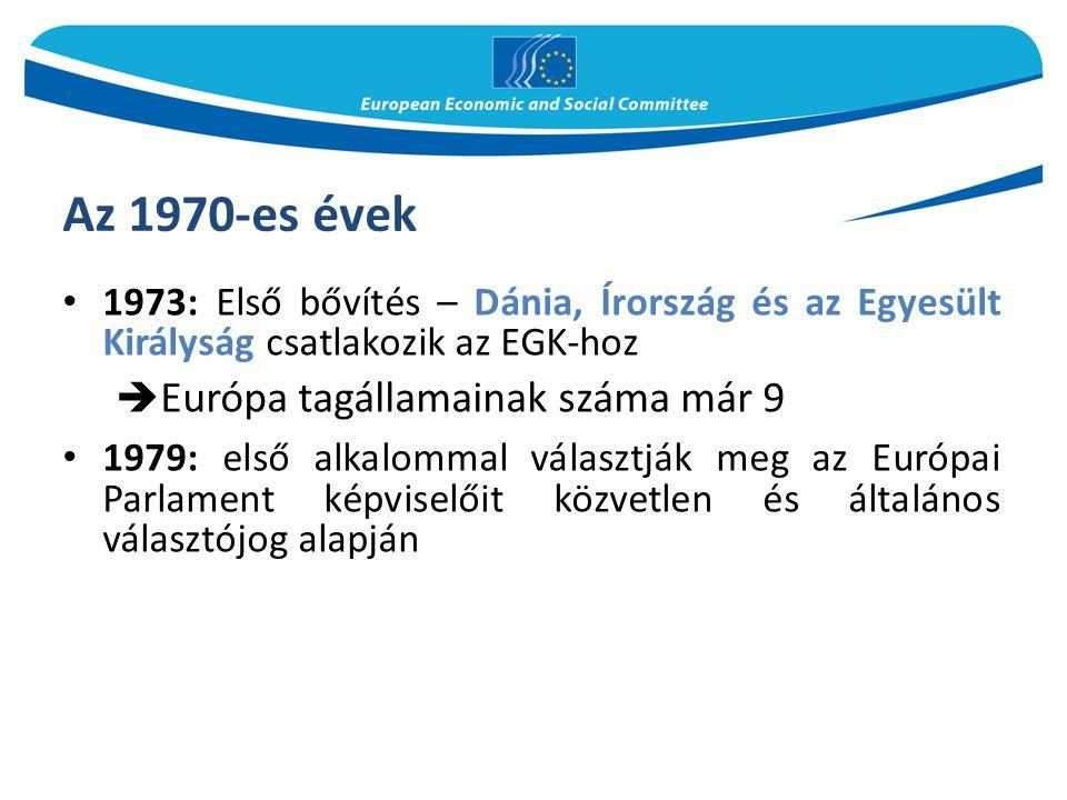 Az 1970-es évek 1973: Első bővítés – Dánia, Írország és az Egyesült Királyság csatlakozik az EGK-hoz  Európa tagállamainak száma már 9 1979: első alkalommal választják meg az Európai Parlament képviselőit közvetlen és általános választójog alapján
